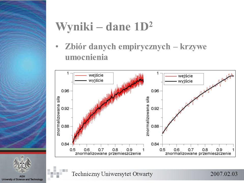 Wyniki – dane 1D 2 Zbiór danych empirycznych – krzywe umocnienia Techniczny Uniwersytet Otwarty 2007.02.03