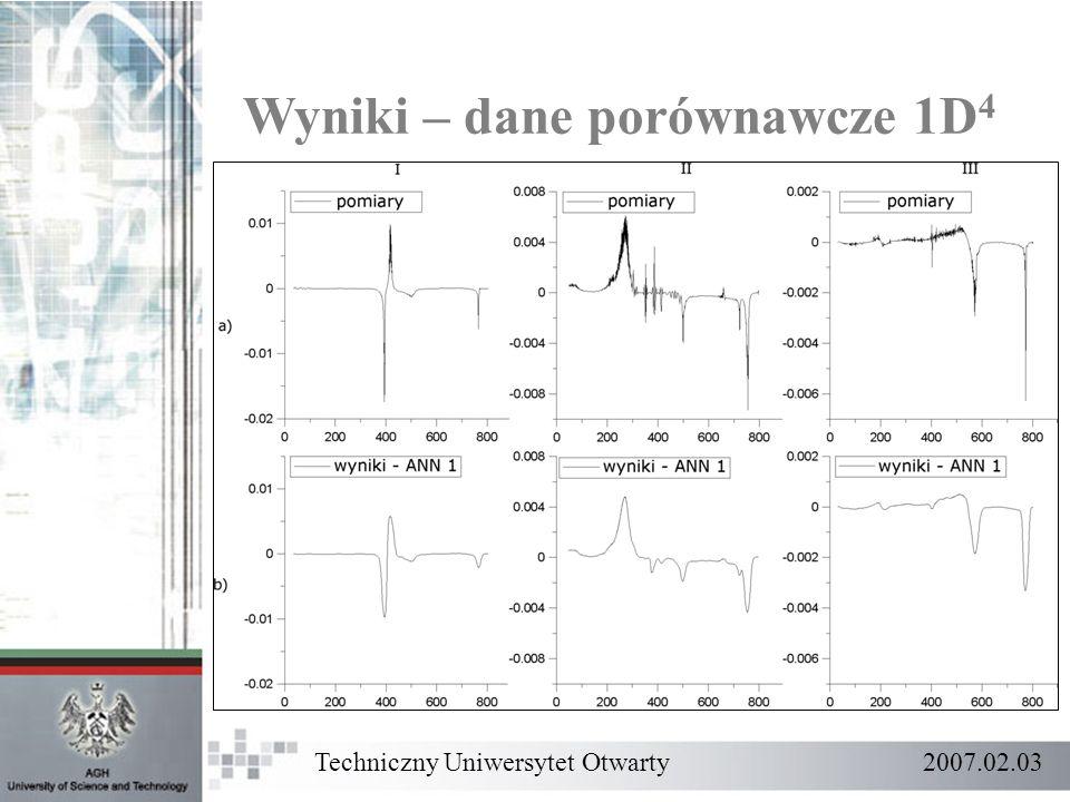 Wyniki – dane porównawcze 1D 4 Techniczny Uniwersytet Otwarty 2007.02.03