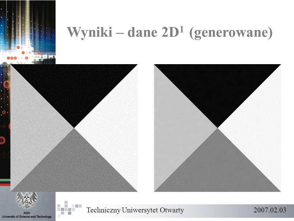 Wyniki – dane 2D 1 (generowane) Techniczny Uniwersytet Otwarty 2007.02.03