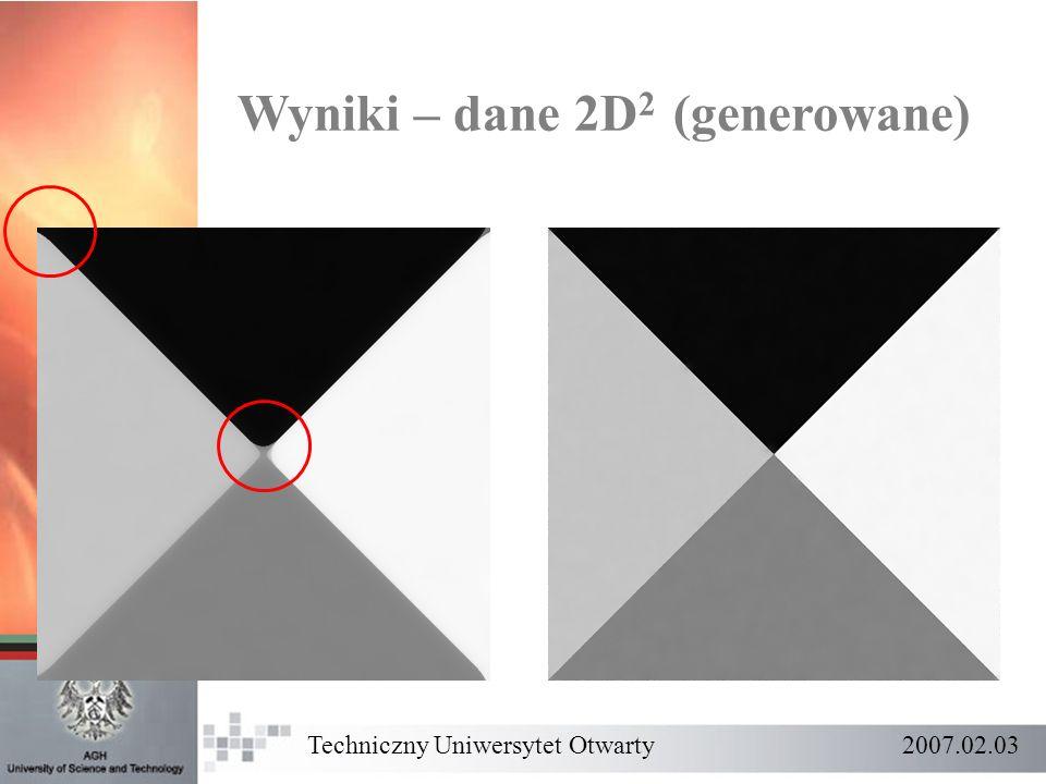 Wyniki – dane 2D 2 (generowane) Techniczny Uniwersytet Otwarty 2007.02.03