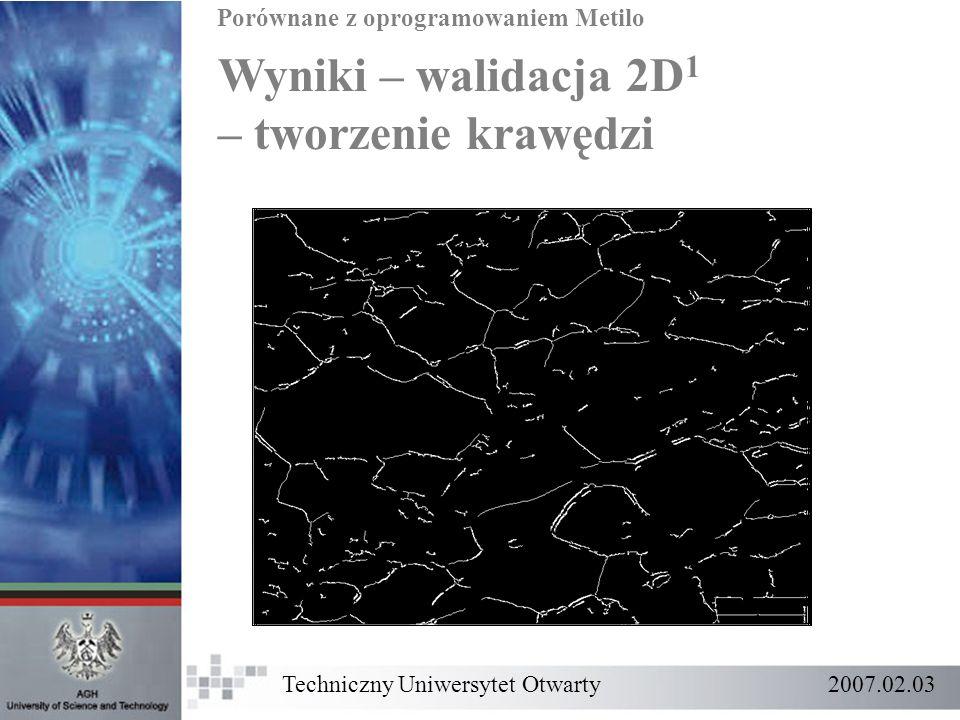 Wyniki – walidacja 2D 1 – tworzenie krawędzi Porównane z oprogramowaniem Metilo Techniczny Uniwersytet Otwarty 2007.02.03