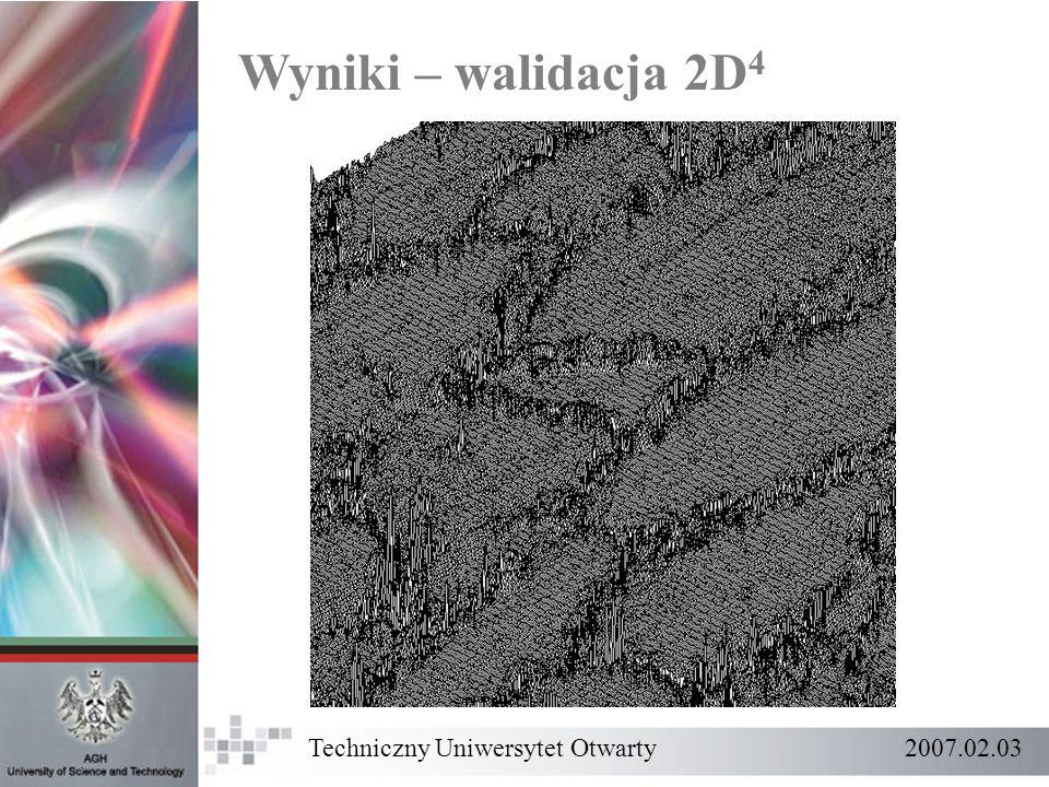 Wyniki – walidacja 2D 4 Techniczny Uniwersytet Otwarty 2007.02.03