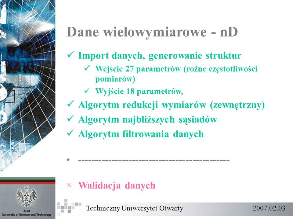 Dane wielowymiarowe - nD Import danych, generowanie struktur Wejście 27 parametrów (różne częstotliwości pomiarów) Wyjście 18 parametrów, Algorytm red