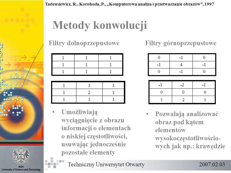 Techniczny Uniwersytet Otwarty 2007.02.03 Metody konwolucji Tadeusiewicz, R., Korohoda, P., Komputerowa analiza i przetwarzanie obrazów, 1997 Filtry d
