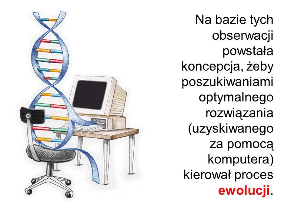 Na bazie tych obserwacji powstała koncepcja, żeby poszukiwaniami optymalnego rozwiązania (uzyskiwanego za pomocą komputera) kierował proces ewolucji.