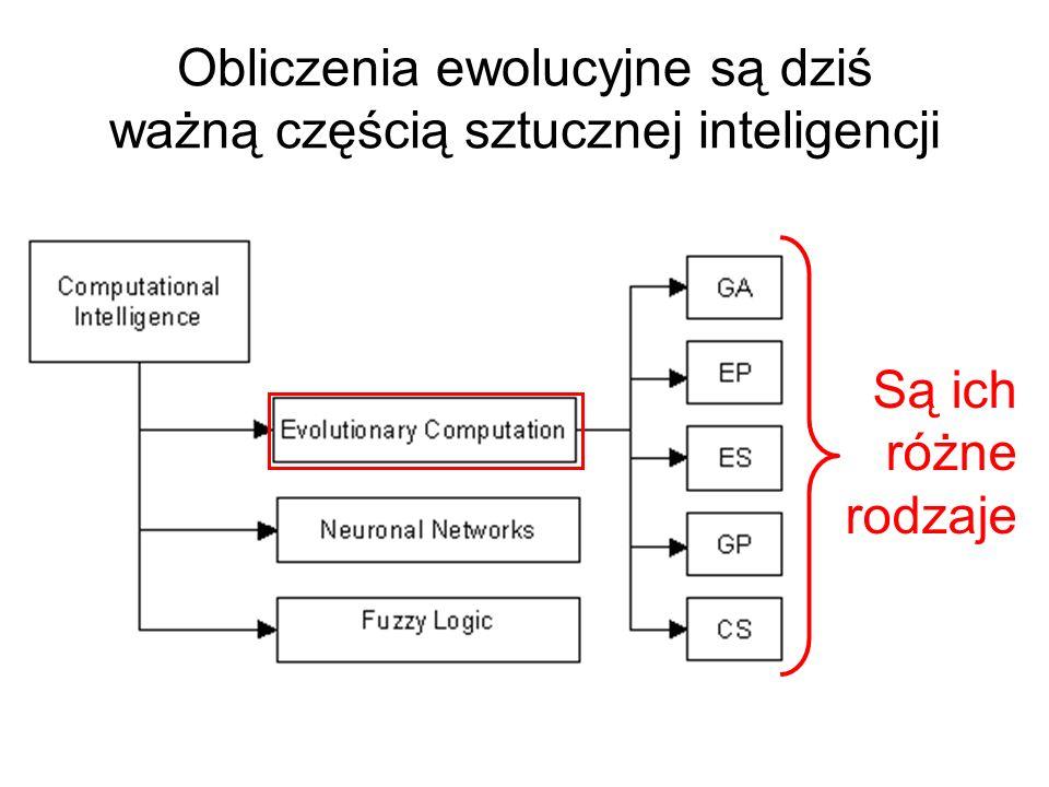 Obliczenia ewolucyjne są dziś ważną częścią sztucznej inteligencji Są ich różne rodzaje