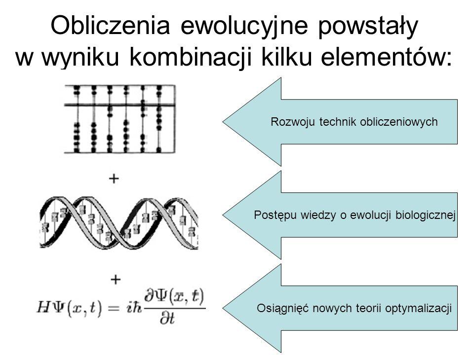 Obliczenia ewolucyjne powstały w wyniku kombinacji kilku elementów: Rozwoju technik obliczeniowych Postępu wiedzy o ewolucji biologicznej Osiągnięć no