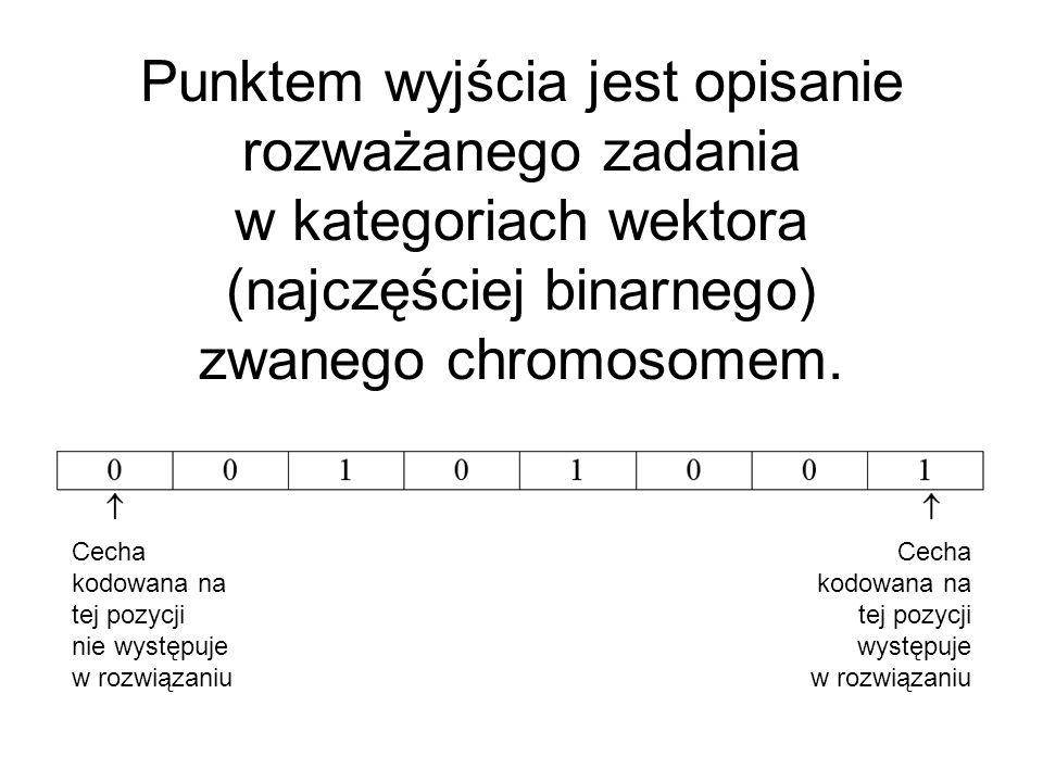 Punktem wyjścia jest opisanie rozważanego zadania w kategoriach wektora (najczęściej binarnego) zwanego chromosomem. Cecha kodowana na tej pozycji wys