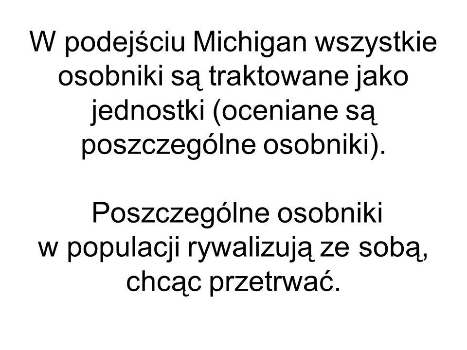 W podejściu Michigan wszystkie osobniki są traktowane jako jednostki (oceniane są poszczególne osobniki). Poszczególne osobniki w populacji rywalizują