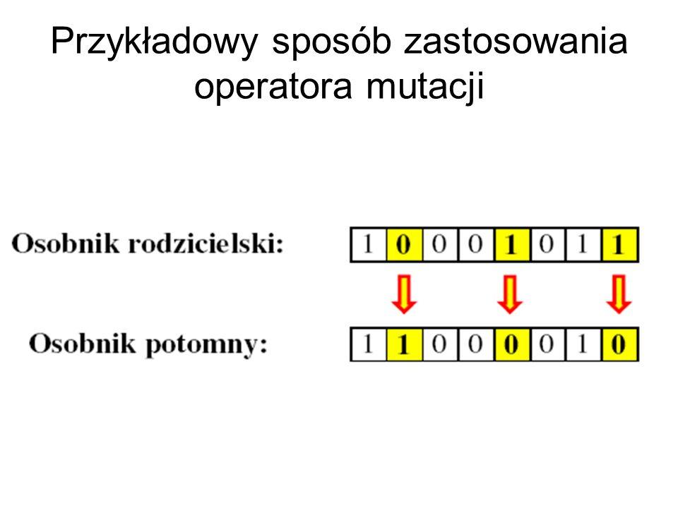 Przykładowy sposób zastosowania operatora mutacji