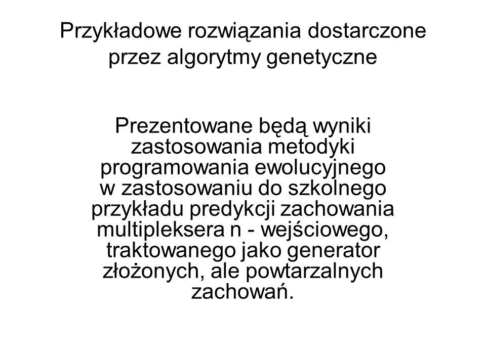 Przykładowe rozwiązania dostarczone przez algorytmy genetyczne Prezentowane będą wyniki zastosowania metodyki programowania ewolucyjnego w zastosowani