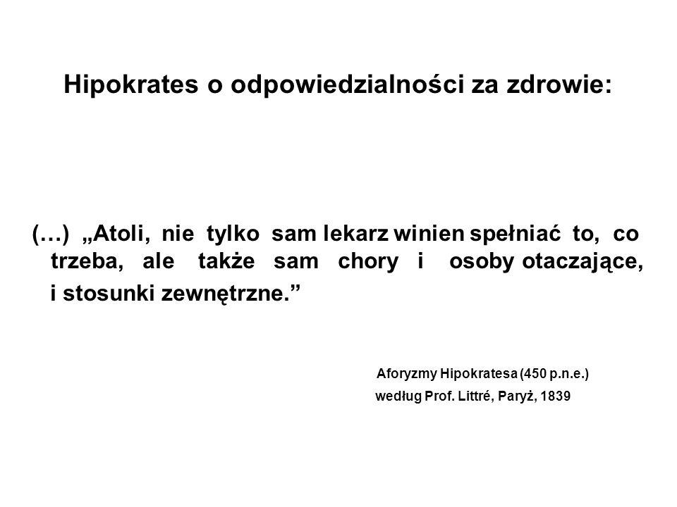 Hipokrates o odpowiedzialności za zdrowie: (…) Atoli, nie tylko sam lekarz winien spełniać to, co trzeba, ale także sam chory i osoby otaczające, i st
