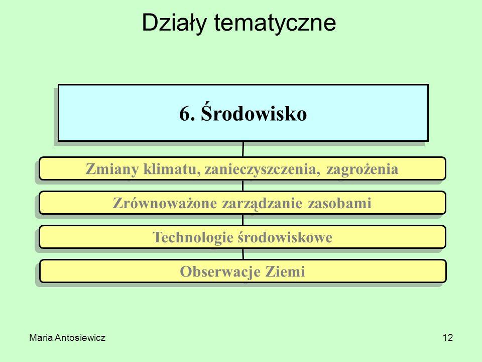Maria Antosiewicz12 Działy tematyczne 6. Środowisko Technologie środowiskowe Obserwacje Ziemi Zrównoważone zarządzanie zasobami Zmiany klimatu, zaniec