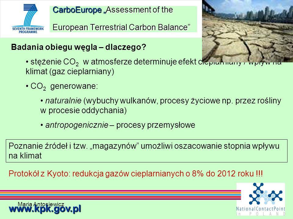Maria Antosiewicz21 CarboEurope Assessment of the European Terrestrial Carbon Balance www.kpk.gov.pl Badania obiegu węgla – dlaczego? stężenie CO 2 w