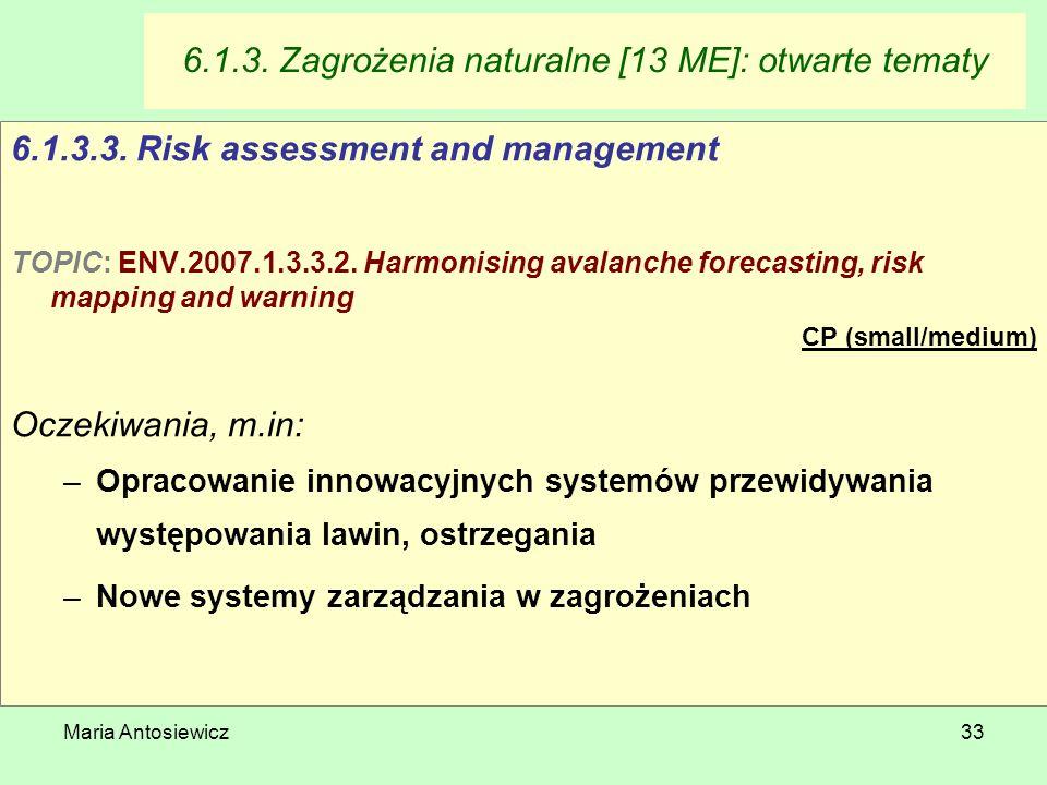 Maria Antosiewicz33 6.1.3. Zagrożenia naturalne [13 ME]: otwarte tematy 6.1.3.3. Risk assessment and management TOPIC: ENV.2007.1.3.3.2. Harmonising a