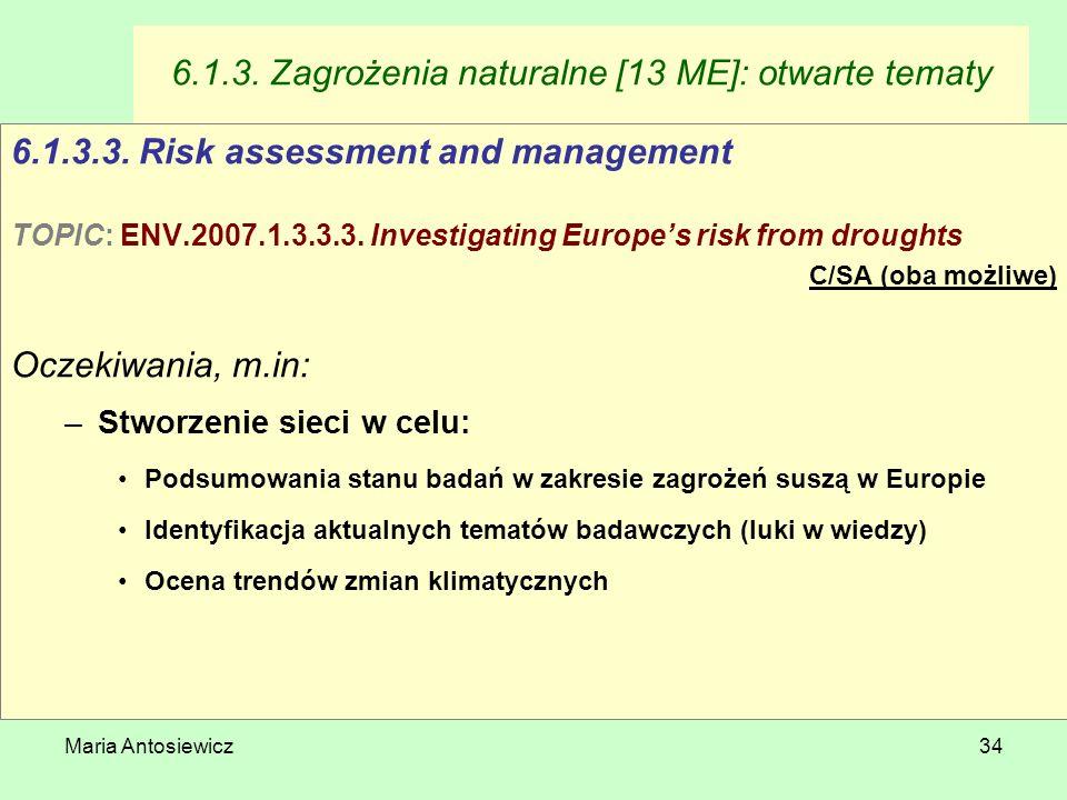 Maria Antosiewicz34 6.1.3. Zagrożenia naturalne [13 ME]: otwarte tematy 6.1.3.3. Risk assessment and management TOPIC: ENV.2007.1.3.3.3. Investigating
