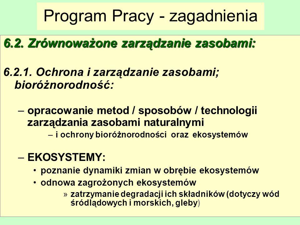 Maria Antosiewicz35 Program Pracy - zagadnienia 6.2. Zrównoważone zarządzanie zasobami: 6.2.1. Ochrona i zarządzanie zasobami; bioróżnorodność: –oprac