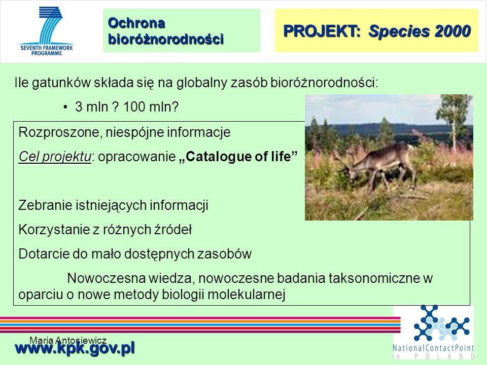 Maria Antosiewicz39 Ochrona bioróżnorodności www.kpk.gov.pl Ile gatunków składa się na globalny zasób bioróżnorodności: 3 mln ? 100 mln? Rozproszone,