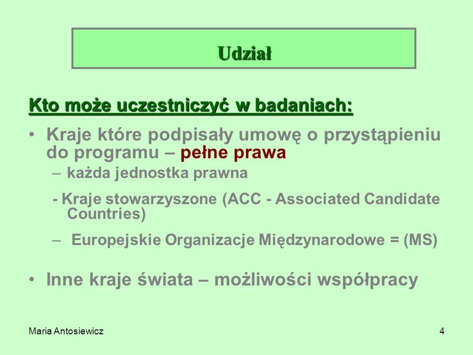 Maria Antosiewicz4 Kto może uczestniczyć w badaniach: Kraje które podpisały umowę o przystąpieniu do programu – pełne prawa –każda jednostka prawna -