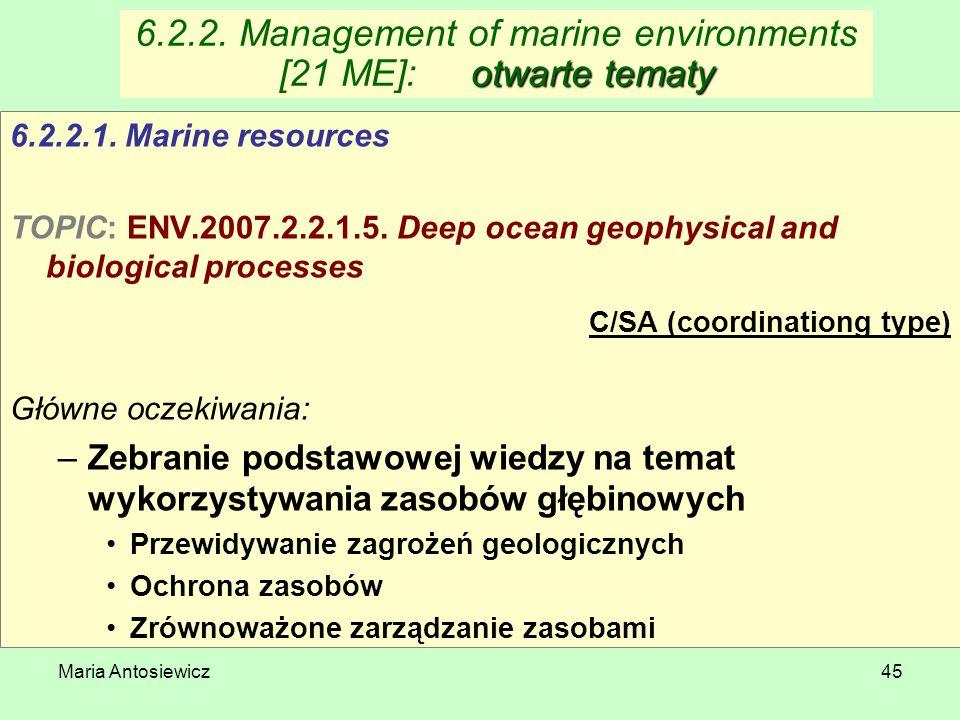 Maria Antosiewicz45 otwarte tematy 6.2.2. Management of marine environments [21 ME]:otwarte tematy 6.2.2.1. Marine resources TOPIC: ENV.2007.2.2.1.5.