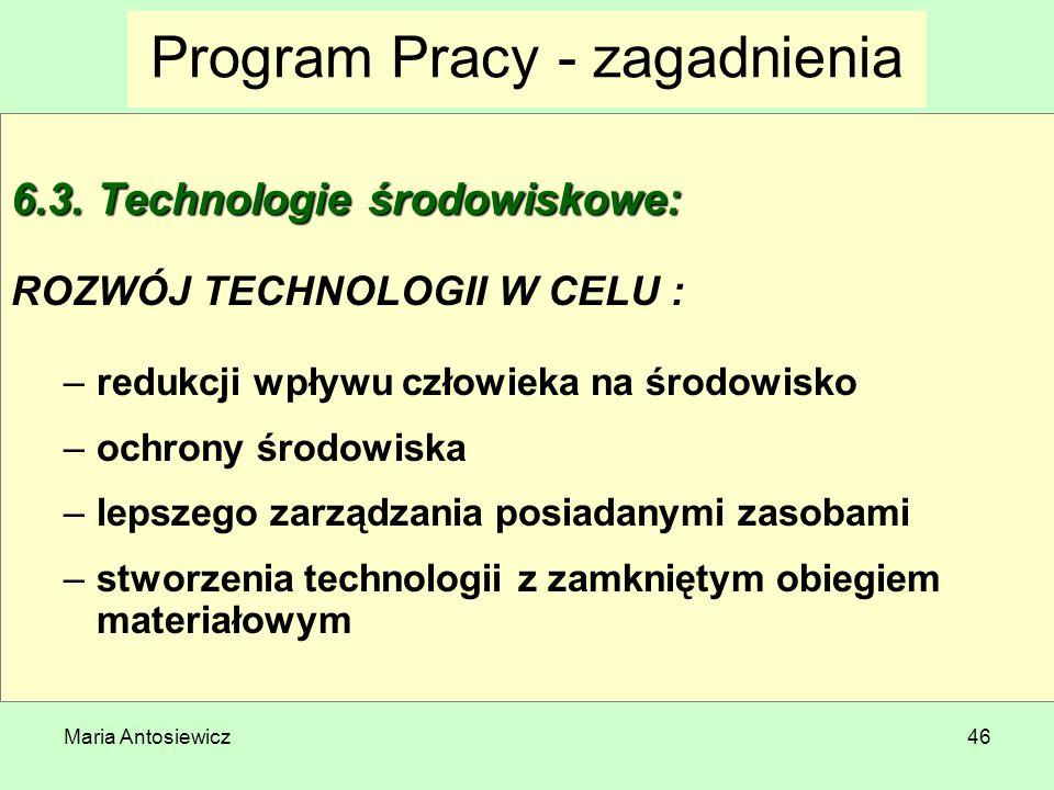 Maria Antosiewicz46 Program Pracy - zagadnienia 6.3. Technologie środowiskowe: ROZWÓJ TECHNOLOGII W CELU : –redukcji wpływu człowieka na środowisko –o