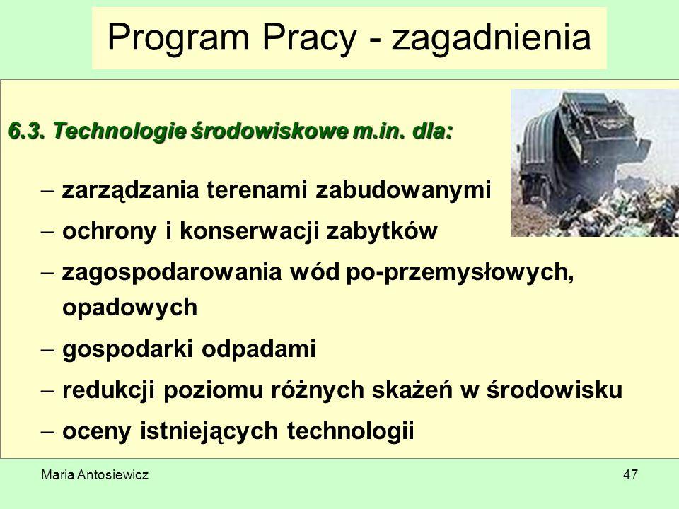 Maria Antosiewicz47 Program Pracy - zagadnienia 6.3. Technologie środowiskowe m.in. dla: –zarządzania terenami zabudowanymi –ochrony i konserwacji zab