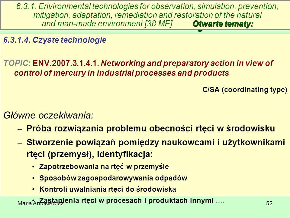 Maria Antosiewicz52 6.3. Technologie środowiskowe – otwarte tematy 6.3.1.4. Czyste technologie TOPIC: ENV.2007.3.1.4.1. Networking and preparatory act
