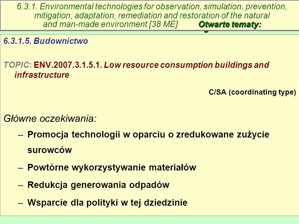 Maria Antosiewicz53 6.3. Technologie środowiskowe – otwarte tematy 6.3.1.5. Budownictwo TOPIC: ENV.2007.3.1.5.1. Low resource consumption buildings an
