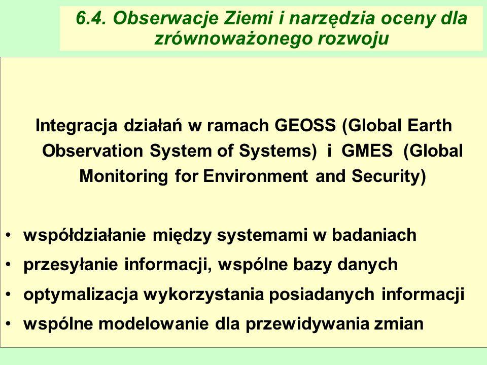 Maria Antosiewicz59 6.4. Obserwacje Ziemi i narzędzia oceny dla zrównoważonego rozwoju Integracja działań w ramach GEOSS (Global Earth Observation Sys