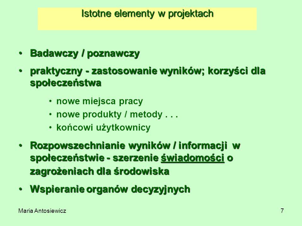 Maria Antosiewicz8 INSTRUMENTY – rodzaje projektów –CP - Collaborative project (projekt badawczy) –Large scale integrating project (średnio ~ 4-7 ME) –Small or medium-scale focused research project (~3,5 ME) –CA/SA – Coordination and Support Action (akcje koordynowane i wspierające) –Coordinating type –Supporting type Małe projekty, niski budżet –ERA-NET: 2 ME –NoE - Network of Excellence (sieć doskonałości)