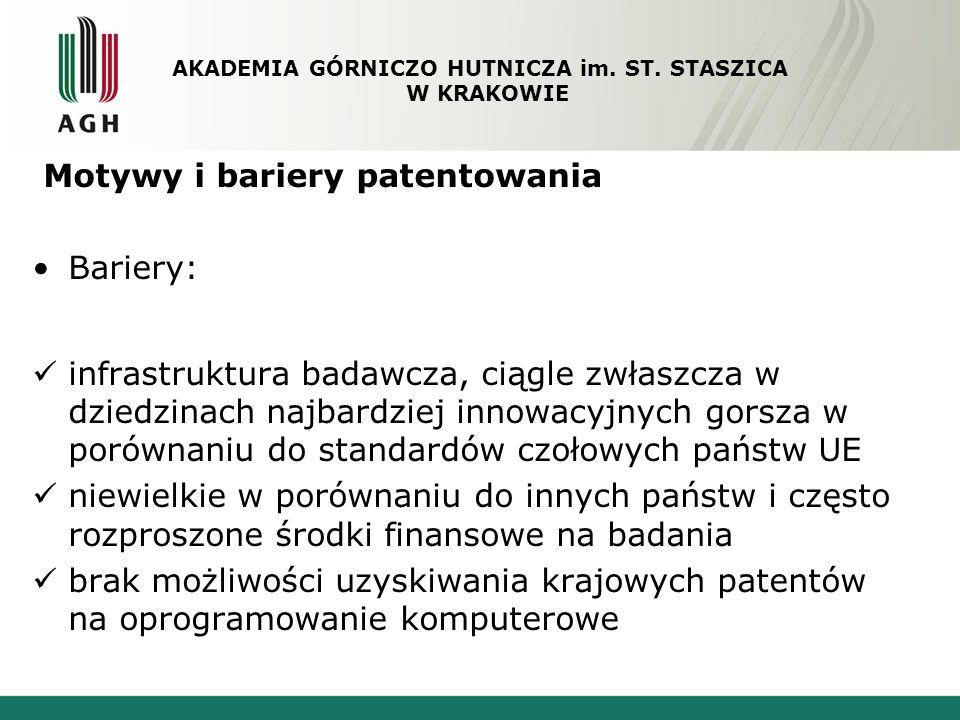Motywy i bariery patentowania Bariery: infrastruktura badawcza, ciągle zwłaszcza w dziedzinach najbardziej innowacyjnych gorsza w porównaniu do standa
