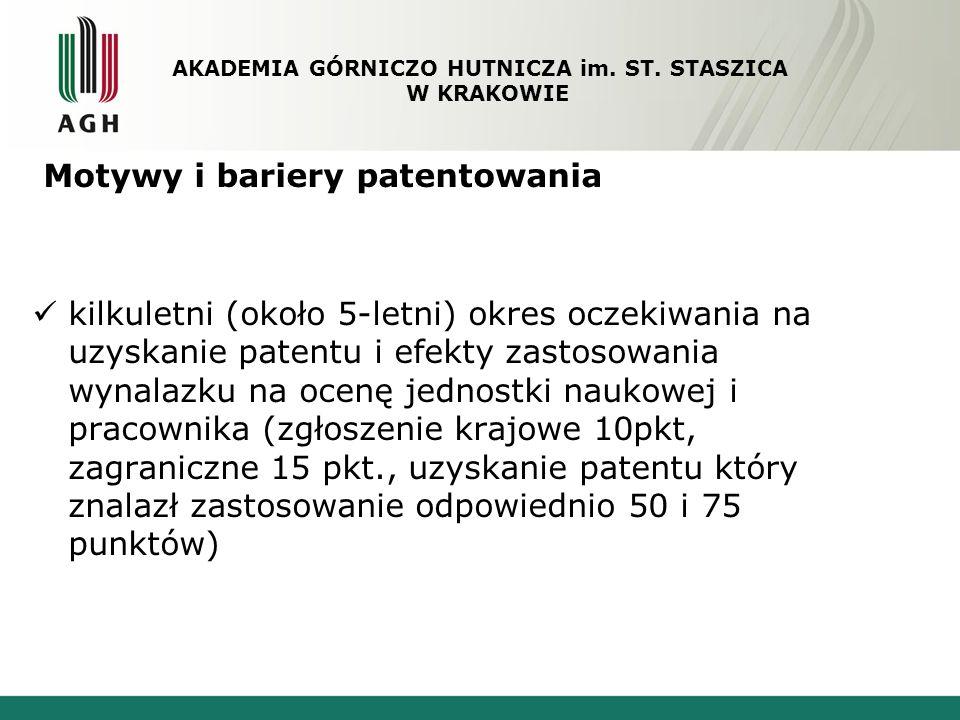 Motywy i bariery patentowania kilkuletni (około 5-letni) okres oczekiwania na uzyskanie patentu i efekty zastosowania wynalazku na ocenę jednostki nau
