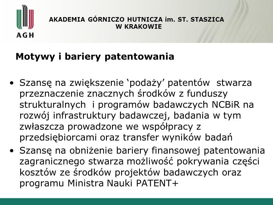 Motywy i bariery patentowania Szansę na zwiększenie podaży patentów stwarza przeznaczenie znacznych środków z funduszy strukturalnych i programów bada