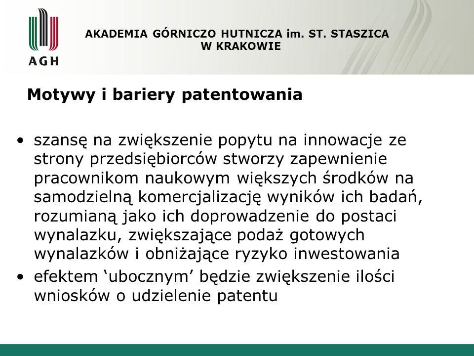 Motywy i bariery patentowania szansę na zwiększenie popytu na innowacje ze strony przedsiębiorców stworzy zapewnienie pracownikom naukowym większych ś
