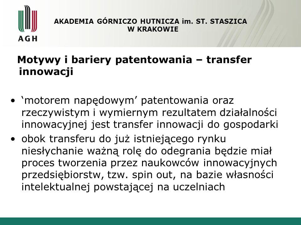 Motywy i bariery patentowania – transfer innowacji motorem napędowym patentowania oraz rzeczywistym i wymiernym rezultatem działalności innowacyjnej j