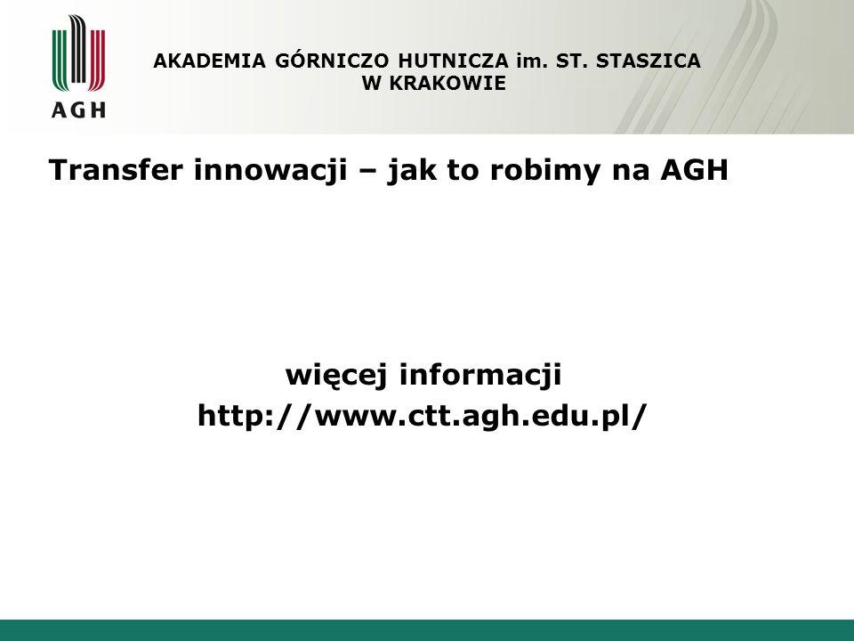 Transfer innowacji – jak to robimy na AGH więcej informacji http://www.ctt.agh.edu.pl/ AKADEMIA GÓRNICZO HUTNICZA im. ST. STASZICA W KRAKOWIE