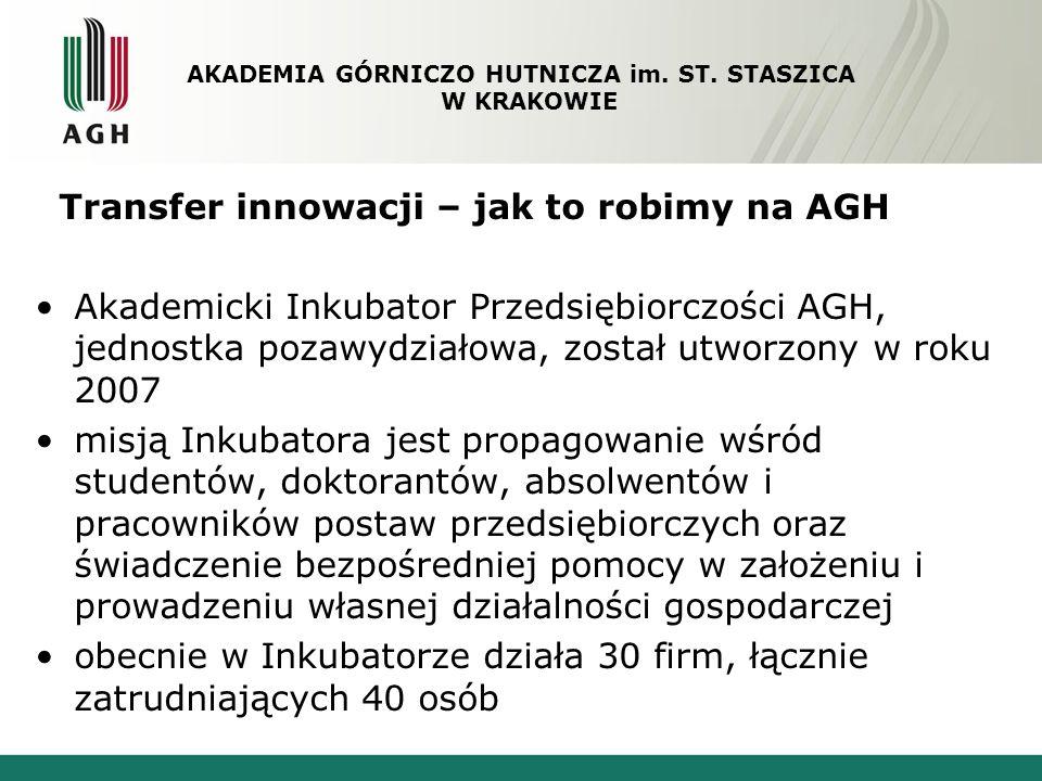 Transfer innowacji – jak to robimy na AGH Akademicki Inkubator Przedsiębiorczości AGH, jednostka pozawydziałowa, został utworzony w roku 2007 misją In