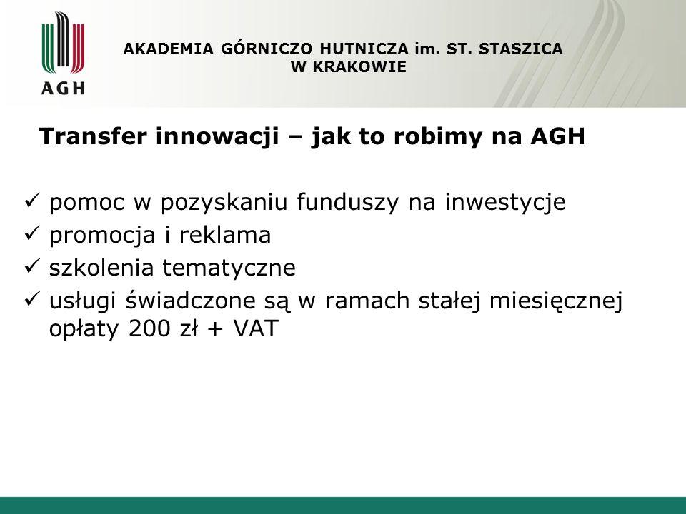 Transfer innowacji – jak to robimy na AGH pomoc w pozyskaniu funduszy na inwestycje promocja i reklama szkolenia tematyczne usługi świadczone są w ram