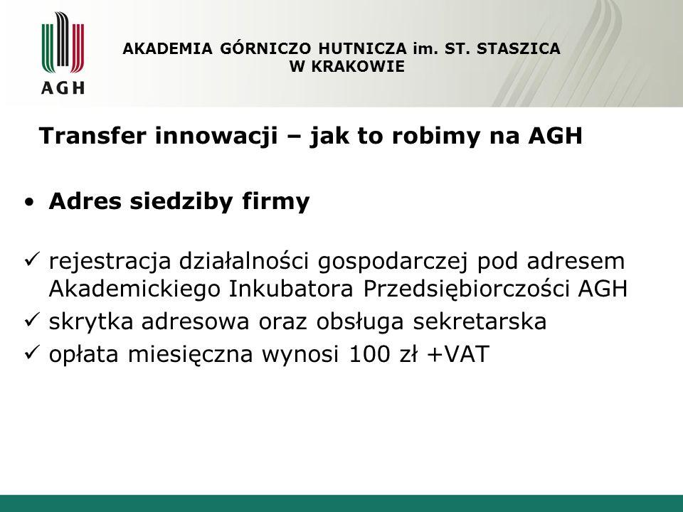 Transfer innowacji – jak to robimy na AGH Adres siedziby firmy rejestracja działalności gospodarczej pod adresem Akademickiego Inkubatora Przedsiębior