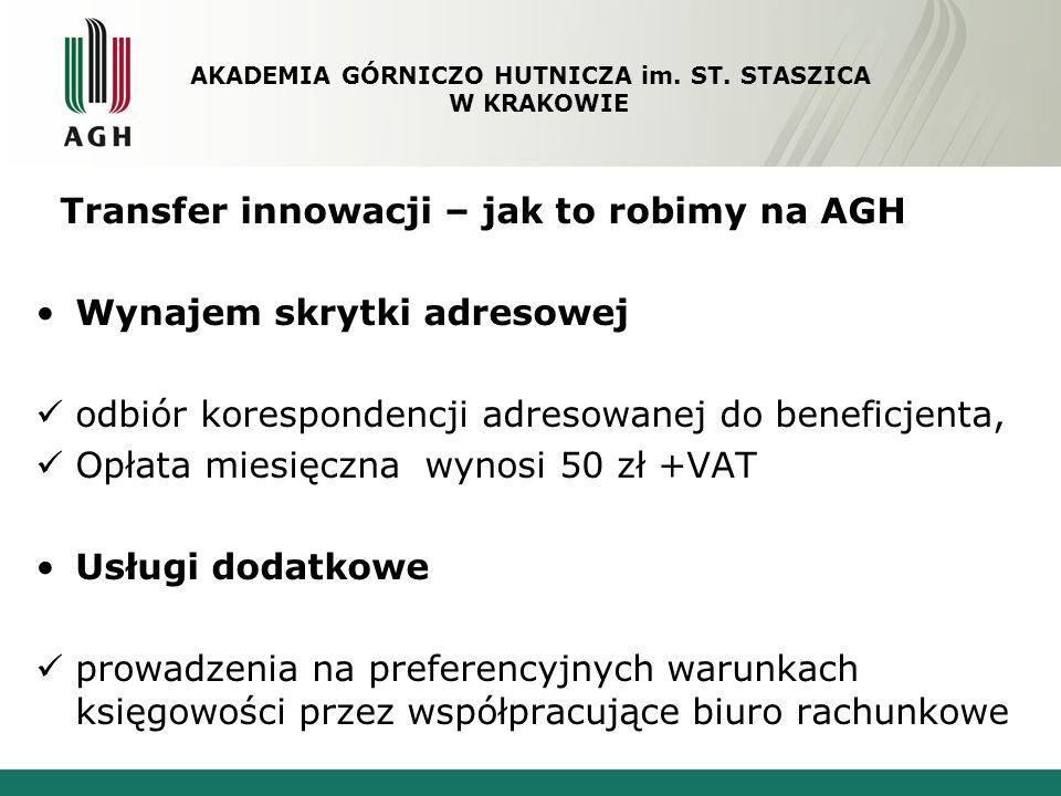 Transfer innowacji – jak to robimy na AGH Wynajem skrytki adresowej odbiór korespondencji adresowanej do beneficjenta, Opłata miesięczna wynosi 50 zł
