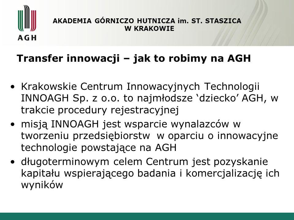 Transfer innowacji – jak to robimy na AGH Krakowskie Centrum Innowacyjnych Technologii INNOAGH Sp. z o.o. to najmłodsze dziecko AGH, w trakcie procedu