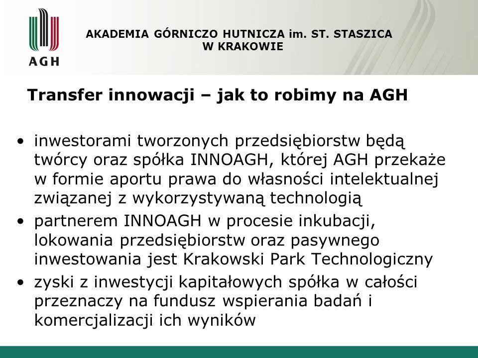 Transfer innowacji – jak to robimy na AGH inwestorami tworzonych przedsiębiorstw będą twórcy oraz spółka INNOAGH, której AGH przekaże w formie aportu