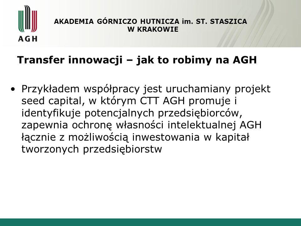 Transfer innowacji – jak to robimy na AGH Przykładem współpracy jest uruchamiany projekt seed capital, w którym CTT AGH promuje i identyfikuje potencj