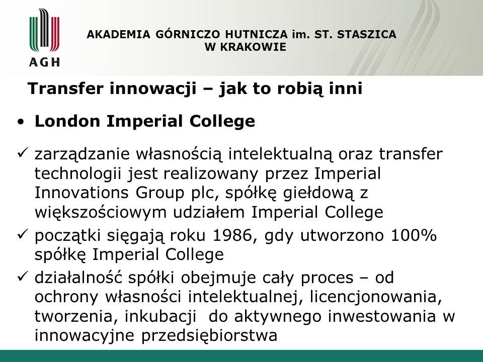 Transfer innowacji – jak to robią inni London Imperial College zarządzanie własnością intelektualną oraz transfer technologii jest realizowany przez I