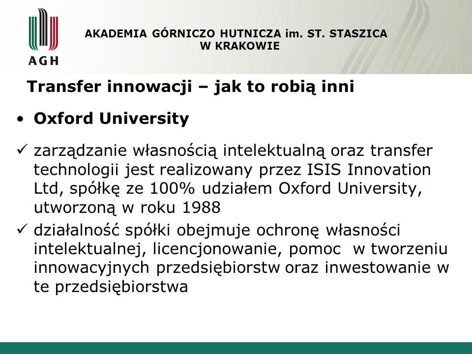Transfer innowacji – jak to robią inni Oxford University zarządzanie własnością intelektualną oraz transfer technologii jest realizowany przez ISIS In
