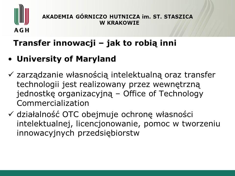 Transfer innowacji – jak to robią inni University of Maryland zarządzanie własnością intelektualną oraz transfer technologii jest realizowany przez we
