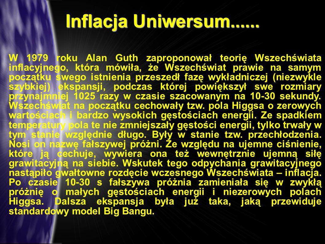 W 1979 roku Alan Guth zaproponował teorię Wszechświata inflacyjnego, która mówiła, że Wszechświat prawie na samym początku swego istnienia przeszedł f