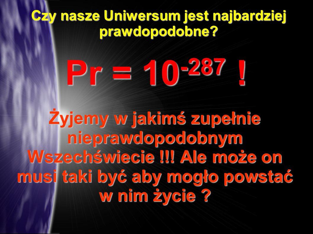 Czy nasze Uniwersum jest najbardziej prawdopodobne? Pr = 10 -287 ! Żyjemy w jakimś zupełnie nieprawdopodobnym Wszechświecie !!! Ale może on musi taki
