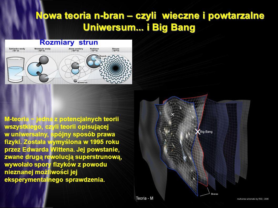 Nowa teoria n-bran – czyli wieczne i powtarzalne Uniwersum... i Big Bang Nowa teoria n-bran – czyli wieczne i powtarzalne Uniwersum... i Big Bang M-te