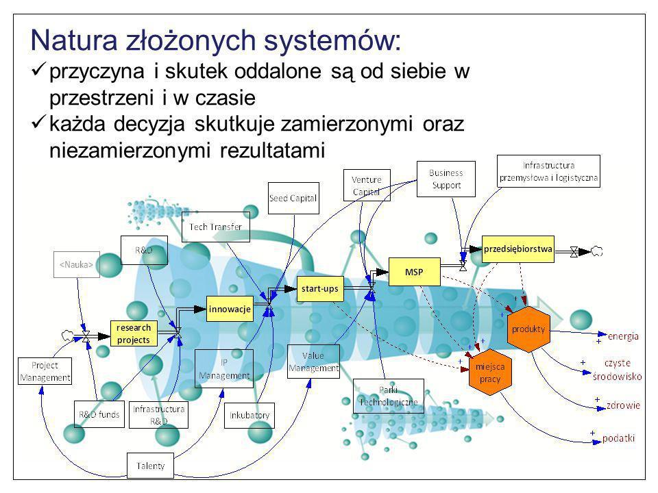 Natura złożonych systemów: przyczyna i skutek oddalone są od siebie w przestrzeni i w czasie każda decyzja skutkuje zamierzonymi oraz niezamierzonymi